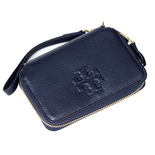 Tory Burch Thea Pebbled Leather Multi Task Wallet Wristlet (Tory Navy) by Tory Burch