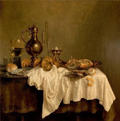 Willem Claeszoon Heda、朝食、エルミタージュ、1648`油絵、10x 10インチ/ 25x 25cm、の印刷ポリエステルキャンバス、このVividアート装飾プリントキャンバスは、Perfectly Suitalbe For Nurseryギャラリーアートとホームデコレーションとギフト