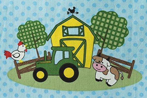 John Deere Tractor and Farm Animals Nursery Crib Sheet, blue