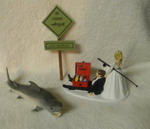 Wedding Reception Great White Shark Hunter Fishing Fisherman Cake Topper ()