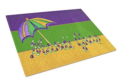 Caroline's Treasures Mardi Gras Beads with Umbrella Glass Cutting Board, Large, Multicolor ()