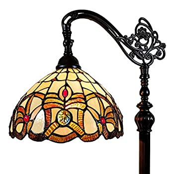 Image of Amora Lighting Tiffany Style Floor Lamp Arched 62' Tall Stained Glass Tan Yellow Brown Antique Vintage Light Decor Bedroom Living Room Reading Gift AM272FL11B, 11 Inch Diameter, Multicolored Home and Kitchen