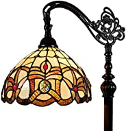 "Amora Lighting Tiffany Style Floor Lamp Arched 62"" Tall Stained Glass Tan Yellow Brown Antique Vintage Li"