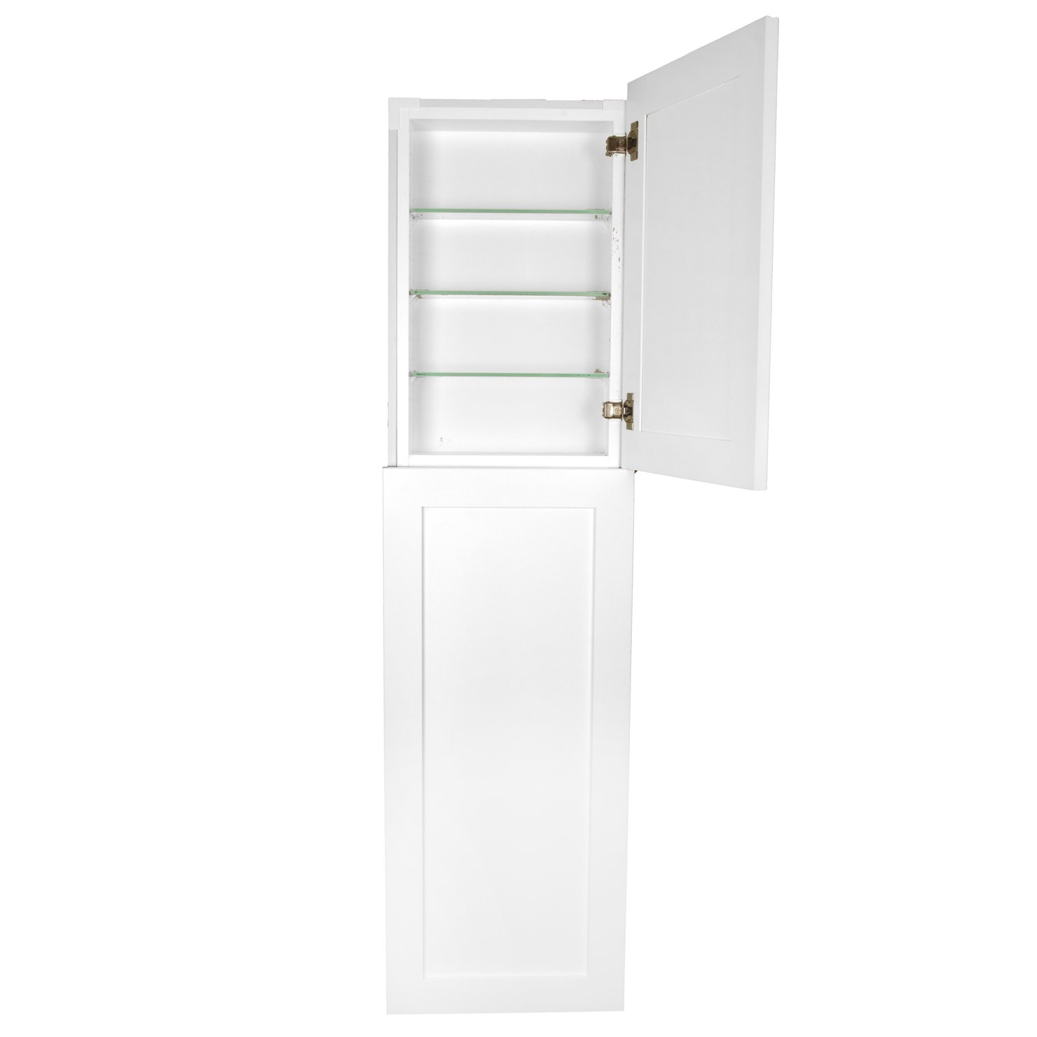WG Wood Products Shaker Style Frameless Recessed Wall Bathroom Medicine Storage Pantry Cabinet with Multiple Finishes, 56'', White Enamel by WG Wood Products (Image #3)
