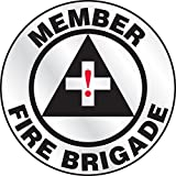 Accuform LHTL602 Emergency Response Reflective Hard Hat/Helmet Sticker, Legend''Member - FIRE Brigade'' with Graphic, 2-1/4'' Diameter, Red/Black on White