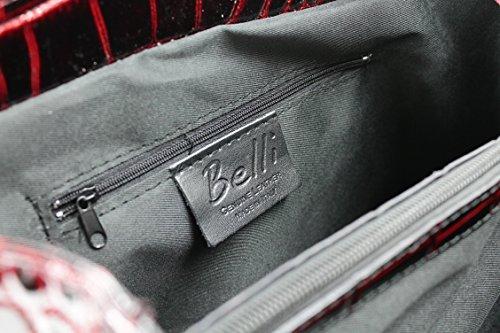 01e50ec7b21e4 Echt Leder Handtasche Henkeltasche bordeaux rot lack Kroko Prägung -  36x25x18 cm ...