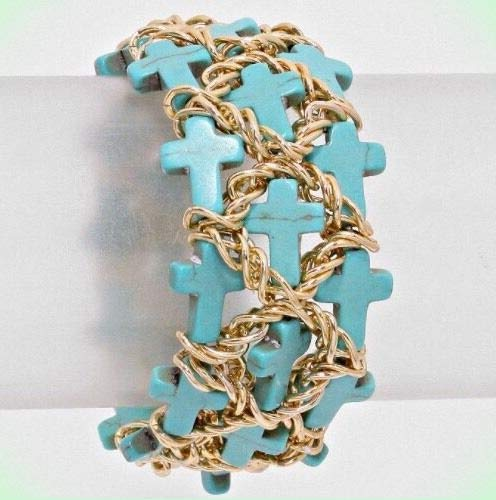 Blue Cross Gold Bead Cuff Chain Turquoise Stretch Chunky Link Costume Bracelet for Women