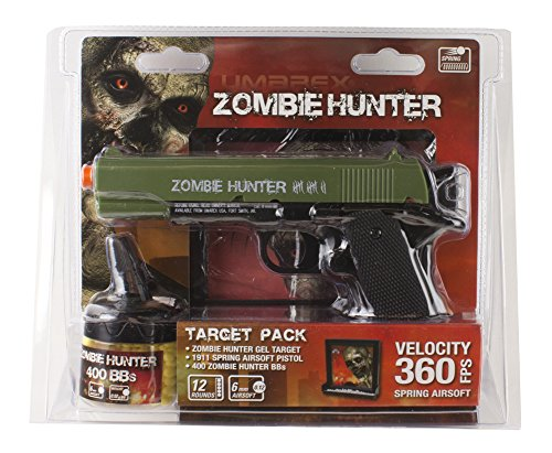 Zombie Hunter Target Pack with Airsoft Pistol and Accessories, Black and Green