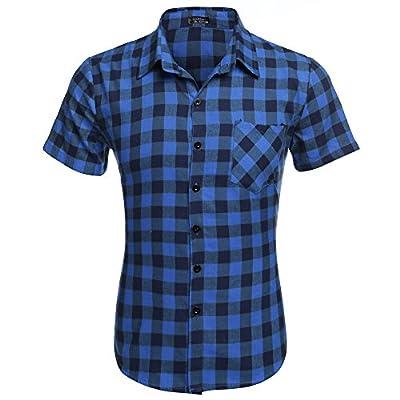 Coofandy Men's Short Sleeve Turn Down Collar Casual Plaid Shirt