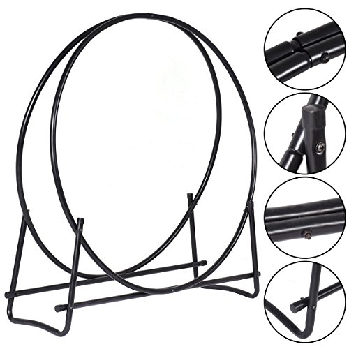 40-Inch Tubular Steel Log Hoop Firewood Storage Rack Holder Round Display New from Unbranded*