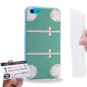 Case88 [Apple iPhone 5C] Gel TPU Carcasa/Funda & Tarjeta de garantía - Art Fashion Aqua Luggage 1868