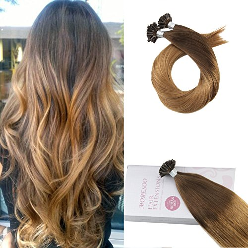 Moresoo 18 Inch U Tip Hair Extensions Keratin Tipped Hair Extenions Color #4 Brown Ombre to #27 Blonde U-tip Human Hair Extensions Pre Bonded Hair 1g/1s 50g