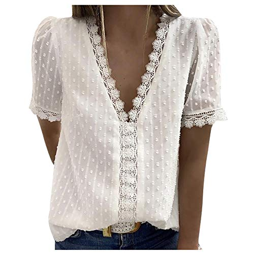 CloudLg Lace Tops for Women Sexy Deep V Neck T-Shirts Vintage Elegant Tunic Tops Short Sleeve Summer Casual Blouse