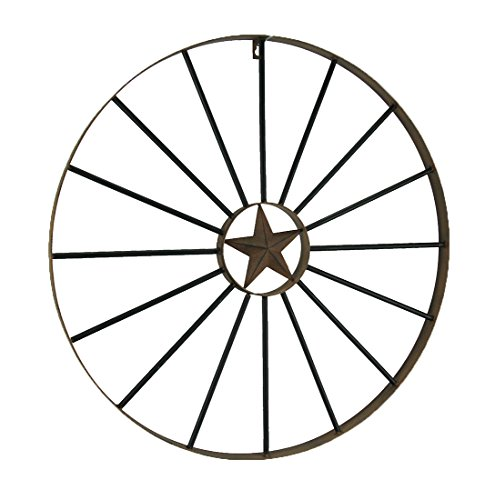 Direct International Metal Wall Sculptures Rustic Brown Western Star Metal Wagon Wheel Wall Hanging 24 Inch 24 X 24 X 1.13 Inches ()
