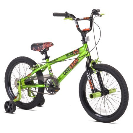 18″ Boy's One Eight BMX Bicycle With Hi Tensile Steel Frame and Heavy Duty Trainers,Adjustable Seat,Freestyle Frame,Clear Chain Cover,Footbrake & Dual Handbrakes,Great For Young Rider,Green
