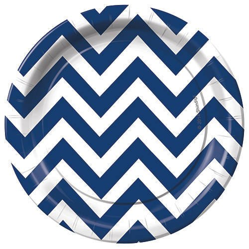 Navy Blue Chevron Dessert Party Plates Pack of 8 (Chevron Blue Dessert Plates)