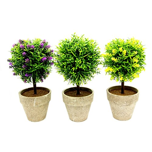 mooinjoinin Set of 3 Artificial Faux Potted Home Desk Tabletop Decor Boxwood Topiary Plant in Ceramic Pots - Artificial Tabletop Tree