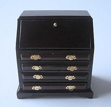 Möbel möbel braun schreibtisch : Sekretär Schreibtisch braun Puppenhaus Möbel Wohnzimmer Miniatur 1 ...