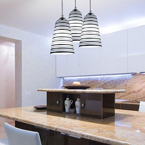 Elitlife Modern Multi-Light Pendant Light With 3-light 3x5W Bulb Elegant Chandelier Hanging Light Ceiling light Stripe Glass Shades for Restaurant,Kitchen,Living room,Cafe, Hotel (White) by Elitlife (Image #2)