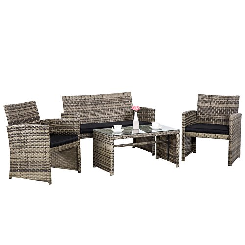 Cloud Mountain 4 Piece Rattan Furniture Set Patio Conversation Set Sectional Wicker Rattan Furniture Outdoor Garden Lawn Sofa Cushioned Set, Mix Gray with Black Cushions Porch Patio Place Furniture Outdoor