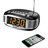 Akai CE1500 Retro Style Am & Fm Clock Radio With Pll Tuner