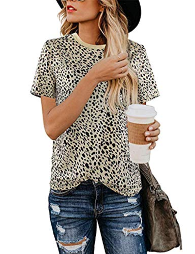 - Women's Casual Blouses Short Sleeve Boyfriend Fit Tee Leopard Print Tops Shirts leopard04 XL