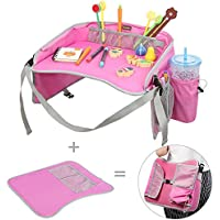 EocuSun Kids Travel Tray with Mesh Pockets and Cup Holders (Pink)