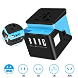 Universal Travel Power Adapter, TecTri All in One Worldwide International Wall Charger AC Plug Adaptor with 3 Smart Power USB and 1 Type-C for USA EU UK AUS Asia Cell Phone Tablet Laptop – Blue For Sale