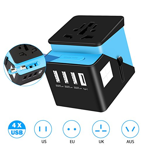 Universal Travel Power Adapter, TecTri All in One Worldwide International Wall Charger AC Plug Adapter with 3 Smart Power USB and 1 Type-C for USA EU UK AUS Asia Cell Phone Tablet Laptop - Blue
