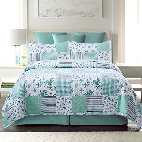 Sole & Lane in Full Bloom 3-Piece 100% Cotton Lightweight Printed Quilt Set (King) | with 2 Shams Machine Washable All-Season Bedspread Coverlet ()