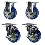 "Service Caster SCC-20S414-PPUB-TLB-2-R414-2-BLUE Swivel Casters with Brakes to Rigid, Blue Polyurethane Wheel, Non-Marking, 4"" Size (Pack of 4)"