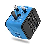 Travel Adapter, Universal International World Travel Power Adapter Dual USB 2.4A Plug Charger Adapter All in One for EU, UK, US, AU, Italy and other 150 countries (Blue 2usb)