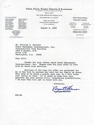 Amazoncom Sargent Shriver Typed Letter Signed 08061982