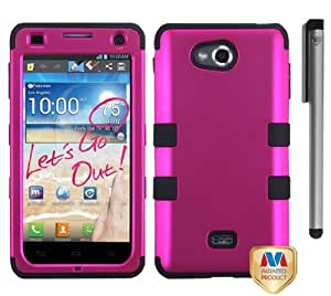 Lg Spirit 4G MS870 Tuff Hybrid Phone Protector Cover Case with ApexGears Stylus Pen (Pink/Black)