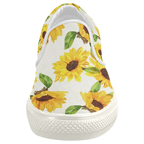 dcd00c7c5d5 well-wreapped InterestPrint Sunflower Casual Slip-on Canvas Women s Fashion  Sneakers Shoes
