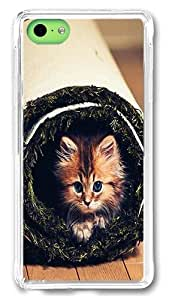 5C Case, iPhone 5C Case Cover - Cat Roll Lightweight Slim Protective Case Hard Plastic Back Cover for Apple iPhone 5C Transparent