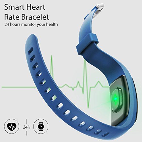 Fitness Tracker, Coffea H7 HR Activity Tracker : Heart Rate Monitor Wireless Bluetooth Smart Wristband Bracelet, Waterproof Fitness Watch with Replacement Band for Android & IOS