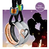 Aienid Him and Her Necklaces for Couples Matching Heart Rings Pendant Women Men Necklace Mother and Father Gifts,2PCS