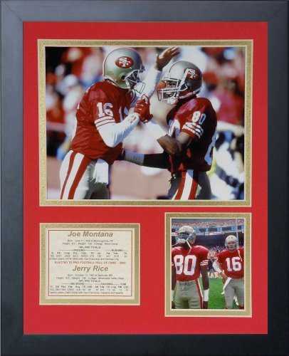 Legends Never Die Joe Montana and Jerry Rice Framed Photo Collage, 11 x 14-Inch by Legends Never Die