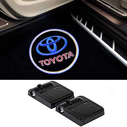 (Toyota Wireless Car Door Led Welcome Laser Projector,No Drill Type Logo Light for Reiz,Camry,Corolla,Highlander,Cruiser,Supercharger,Tundra,Tacoma, Yaris,Camry,Land Cruiser,Prado,Sequoia,Prius, etc.)