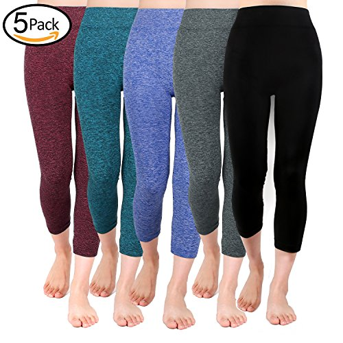Moon Wood Extra Soft Capri Leggings for Women with High Waist 5 Pack-L/XL (Capri Clothes)