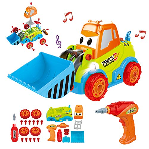 Maxxrace Take Apart Toy Construction Car, STEM Toys 25 Pieces Assembly Toy Vehicles with Drill Tool, Lights and Sounds, for Kids Aged -