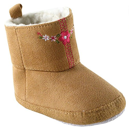 Luvable Friends Embroidered Winter Faux Suede Baby (Infant), Beige, 6-12 Months M US Infant