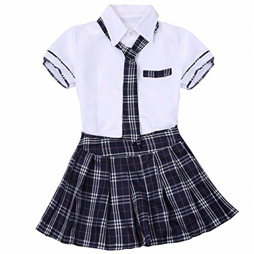 Feeshow Women School Girls Uniform Cosplay Costume Tie Top