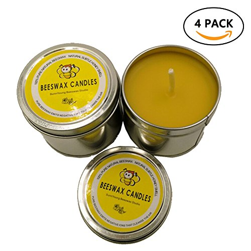 100% Pure Beeswax Candles, Unique Natural Honey Candles Set of 4 Relax Travel Tin Candle ()
