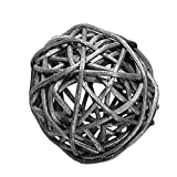 "Custom & Fancy {2"" Inch} Approx 600 Pieces of Large Round Ball ""Table"" Party Confetti Made of Premium Rattan w/ Modern Contemporary Shimmering Creative Natural Twig Nest Scatter Design [Silver]"