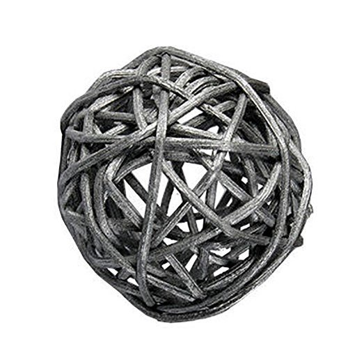 "Custom & Fancy {4"" Inch} Approx 90 Pieces of Large Round Ball ""Table"" Party Confetti Made of Premium Rattan w/ Natural Modern Look Simple Shiny Textured Stick Twig Nest Scatter Filler Design [Silver] by mySimple Products"