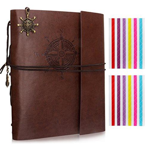 Leather 3 Ring Scrapbook Album (Woodmin Leather Cover Navigation Theme 3-Ring Black Paper DIY Scrapbook Photo Album, Anniversary Sketchbook, Wedding Album (60 Pages, Brown))