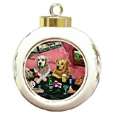 Golden Retriever Christmas Holiday Ornament 4 Dogs Playing Poker