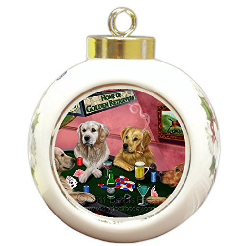 Golden Retriever Christmas Holiday Ornament 4 Dogs Playing Poker by Doggie of the Day